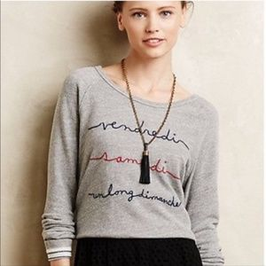 Anthropologie T.LA Grey Vendredi French Sweatshirt
